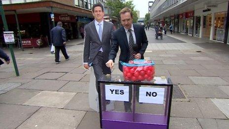 Cardboard Ed Miliband with Adam Fleming and Daily Politics mood box