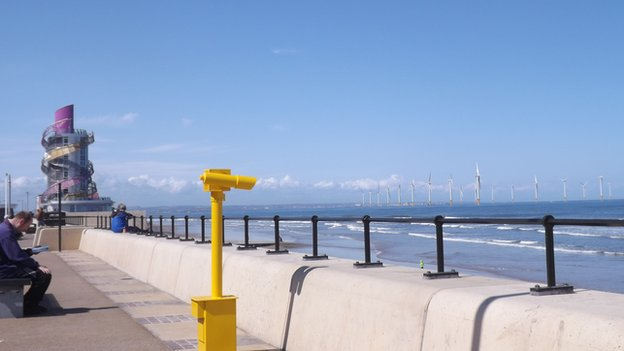 Windfarm and the Beacon at Redcar