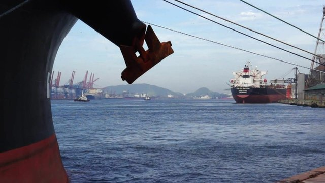 Ships at a port in Santos