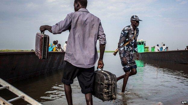 A boat preparing to leave Bor in South Sudan