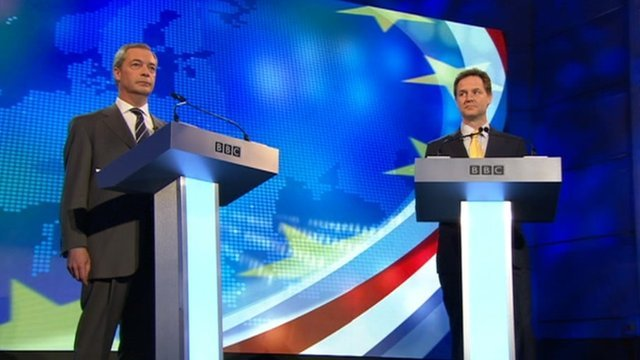 Nigel Farage and Nick Clegg in TV debate