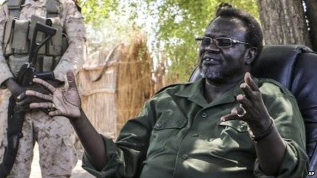 Riek Machar at an undisclosed location in  South Sudan on 30 April 2014