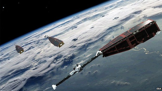 Artist's impression of the Swarm satellites