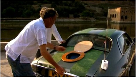 Jeremy Clarkson with his modified Jaguar XJS in 2012's India special