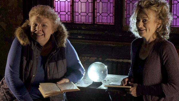 Di Botcher and Sian Thomas record Under Milk Wood for BBC Wales TV