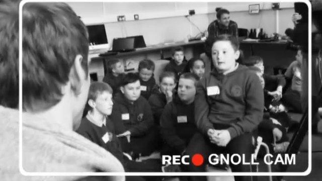 Dan Biggar is quizzed by Gnoll Primary School pupils