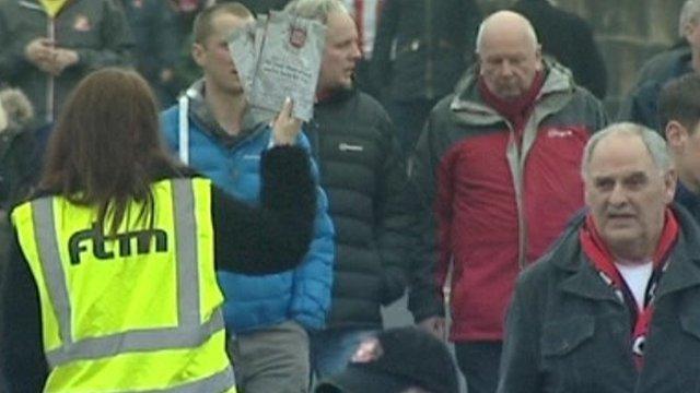 Fanzine seller at Sunderland
