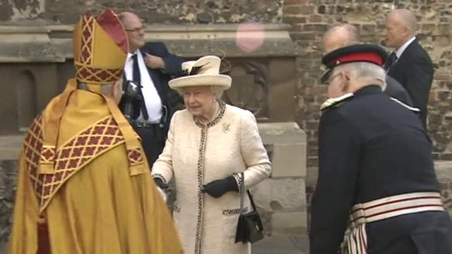 The Queen shakes hands with the Bishop of Chelmsford