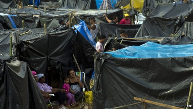 Tents at the Copa do Povo camp in eastern Sao Paulo