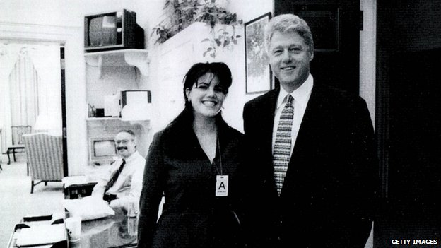 An undated photo of former White House intern Monica Lewinsky (left) and President Bill Clinton at the White House in Washington DC