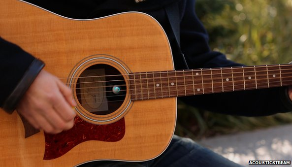 AcousticStream device on inside of acoustic guitar