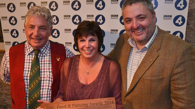 Jan Eldridge from Aberystwyth Farmers' Market with Richard Corrigan and Peter Gott