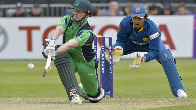 Ireland captain William Porterfield plays a shot against Sri Lanka