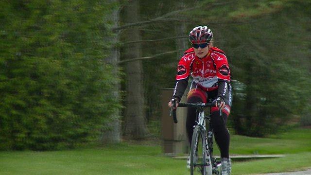 Female athlete cycling