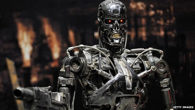 A full-scale figure of a terminator robot 'T-800', used in the 'Terminator 2' film at an exhibition in Tokyo in 2009