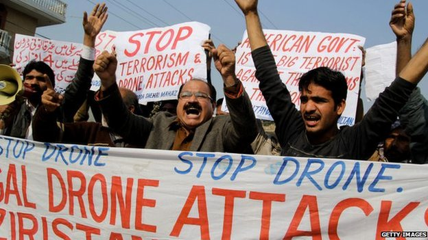 Demonstrators in Pakistan protest against a US drone attack, December 2103