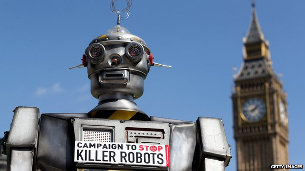 A robot with a slogan calling for a ban on fully autonomous weapons in in London, April 2013