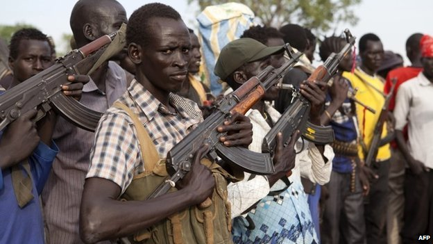 Members of the White Army, a South Sudanese anti-government militia, attend a rally in Nasir on 14 April 2014