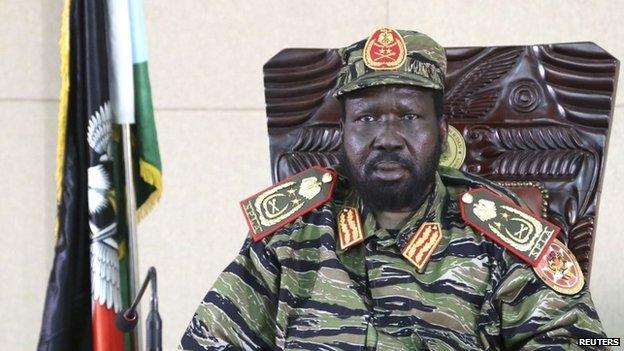 South Sudan's President Salva Kiir sits in his office in capital Juba on 16 December 2013
