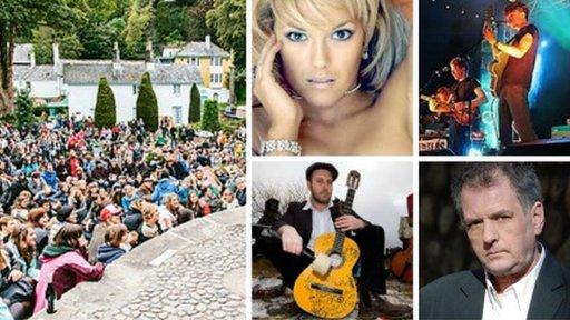 Festival No6 llynedd : gyda rhai o'r artistiaid Cymraeg fydd yna eleni