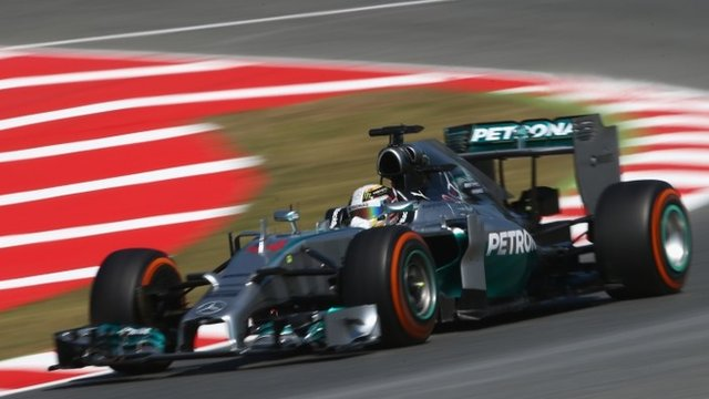 Mercedes driver Lewis Hamilton sets the pace in practice one for the Spanish GP
