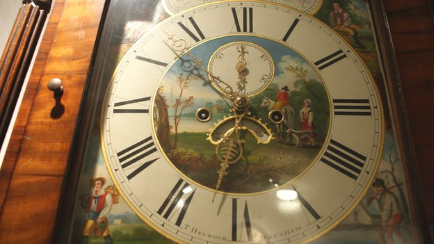 T Heywood clock face