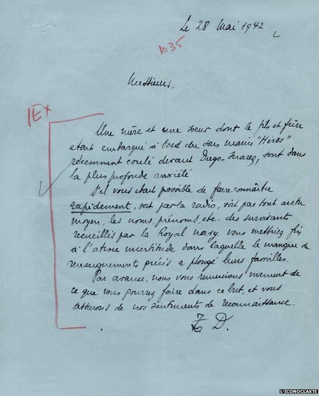 Letter on blue paper