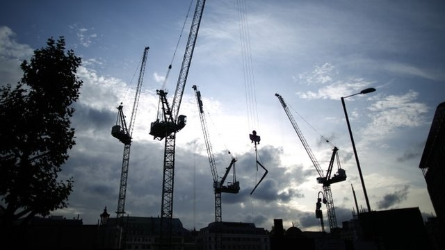 Row of construction cranes in London