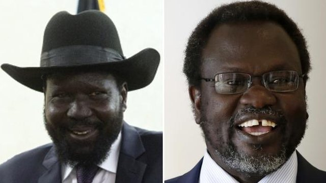 Salva Kiir (left) and Riek Machar