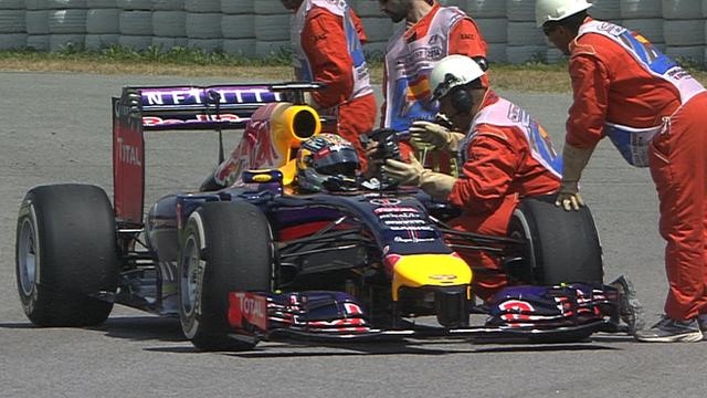 Sebastioan Vettel breaks down during qualifying