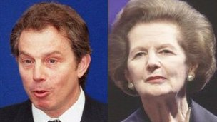 Tony Blair and Margaret Thatcher