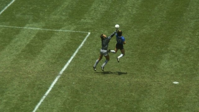 1986 World Cup - England v Argentina: Diego Maradona's opener