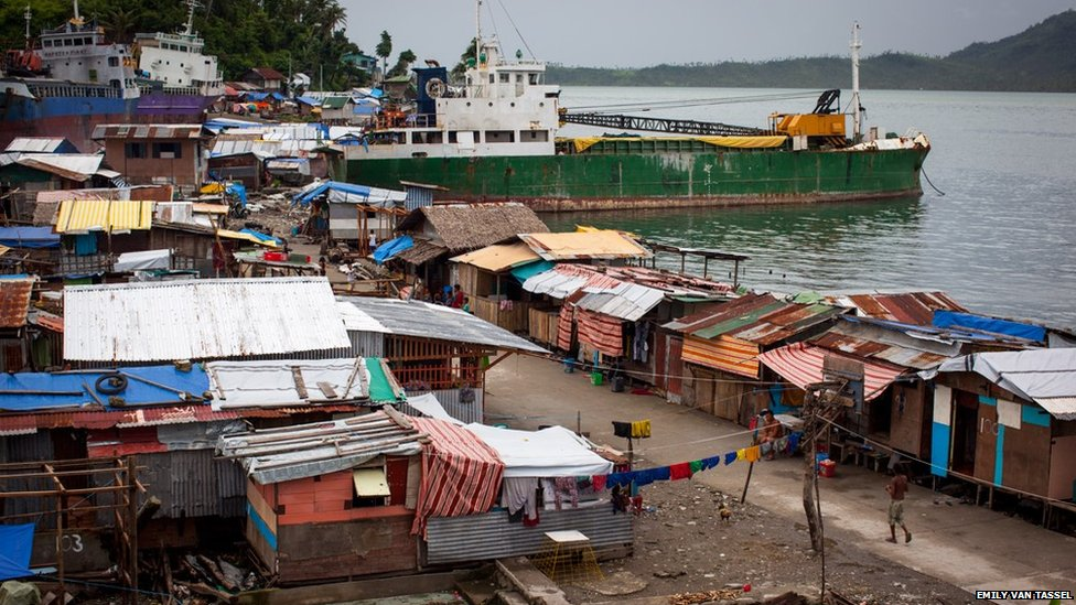 Ships washed up in Tacloban