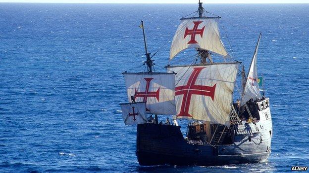A replica boat of the Santa Maria, undated image