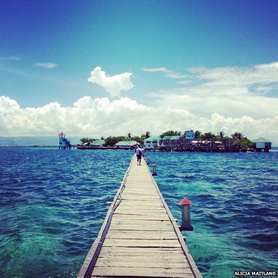 Walkway to an island in the Philippines