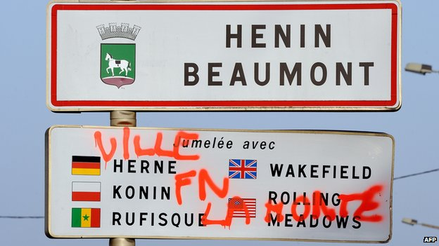Henin_Beaumont road sign with a graffiti reading: Shame on FN town