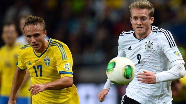 Sweden V Germany during World Cup qualifier