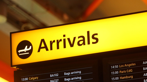 Arrivals board at Heathrow airport