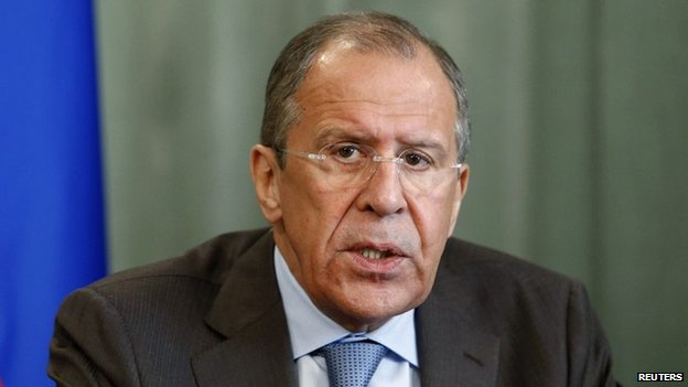 Russia's Foreign Minister Sergei Lavrov at a news conference in Moscow - 12 May 2014