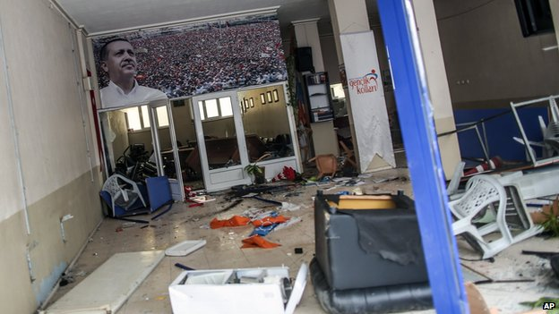 Damaged local office of Erdogan's Justice and Development Party in Soma, Turkey, on 14 May 2014