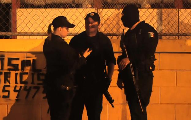 Police at the scene of a crime in Sinaloa