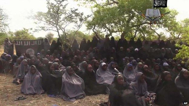 Screen grab of video released by Boko Haram showing abducted Nigerian schoolgirls (12 May 2014)
