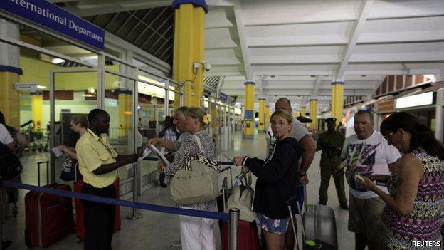 British tourists leaving Mombasa