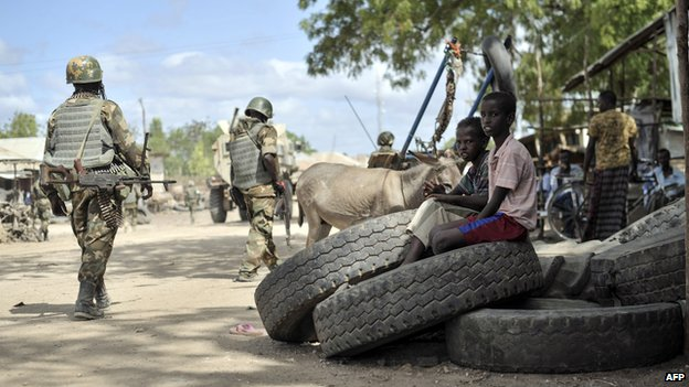 African Union on patrol in Qoryooley, Somalia, after the town was liberated from al-Shabab militants