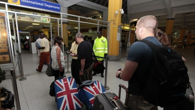British tourists queue at the departure gate in Kenya