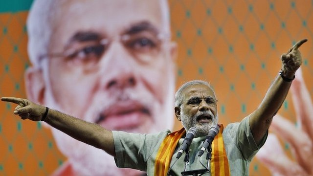 India's main opposition Hindu nationalist Bharatiya Janata Party (BJP) leader Narendra Modi speaks during a campaign rally