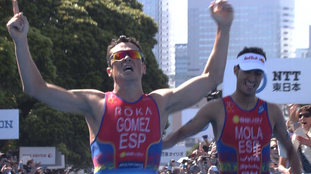 World Triathlon: Javier Gomez wins sprint finish in Yokohama