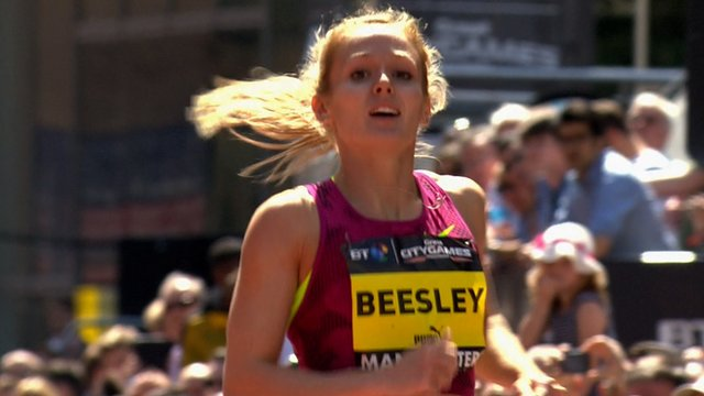Hurdler Meghan Beesley at the Great City Games in Manchester
