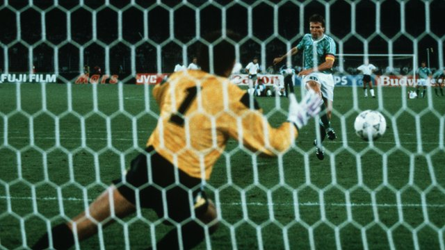 England lose 4-3 on penalties against West Germany in the World Cup semi-final