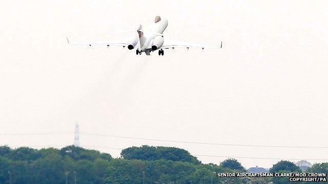 Sentinel reconnaissance aircraft leaves RAF Waddington